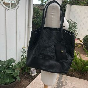 JCrew large leather perforated Downing tote black